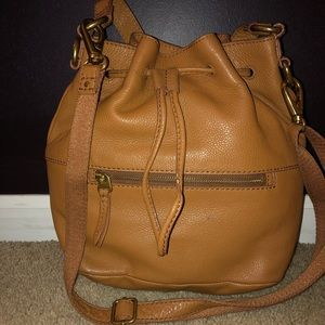 Leather Fossil Bucket Bag